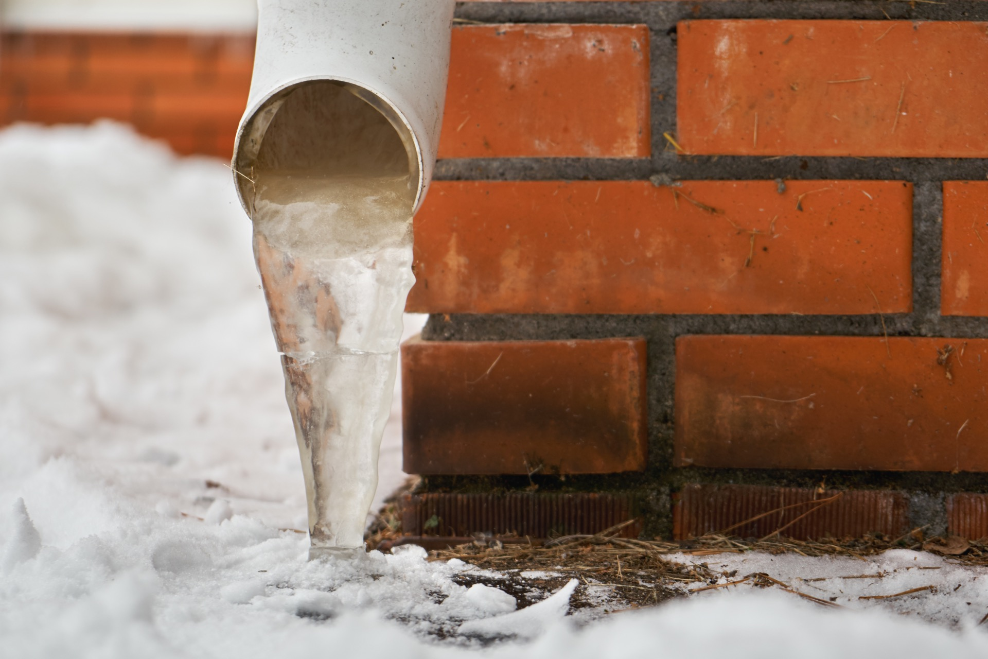 Frozen pipes that lead to septic tank