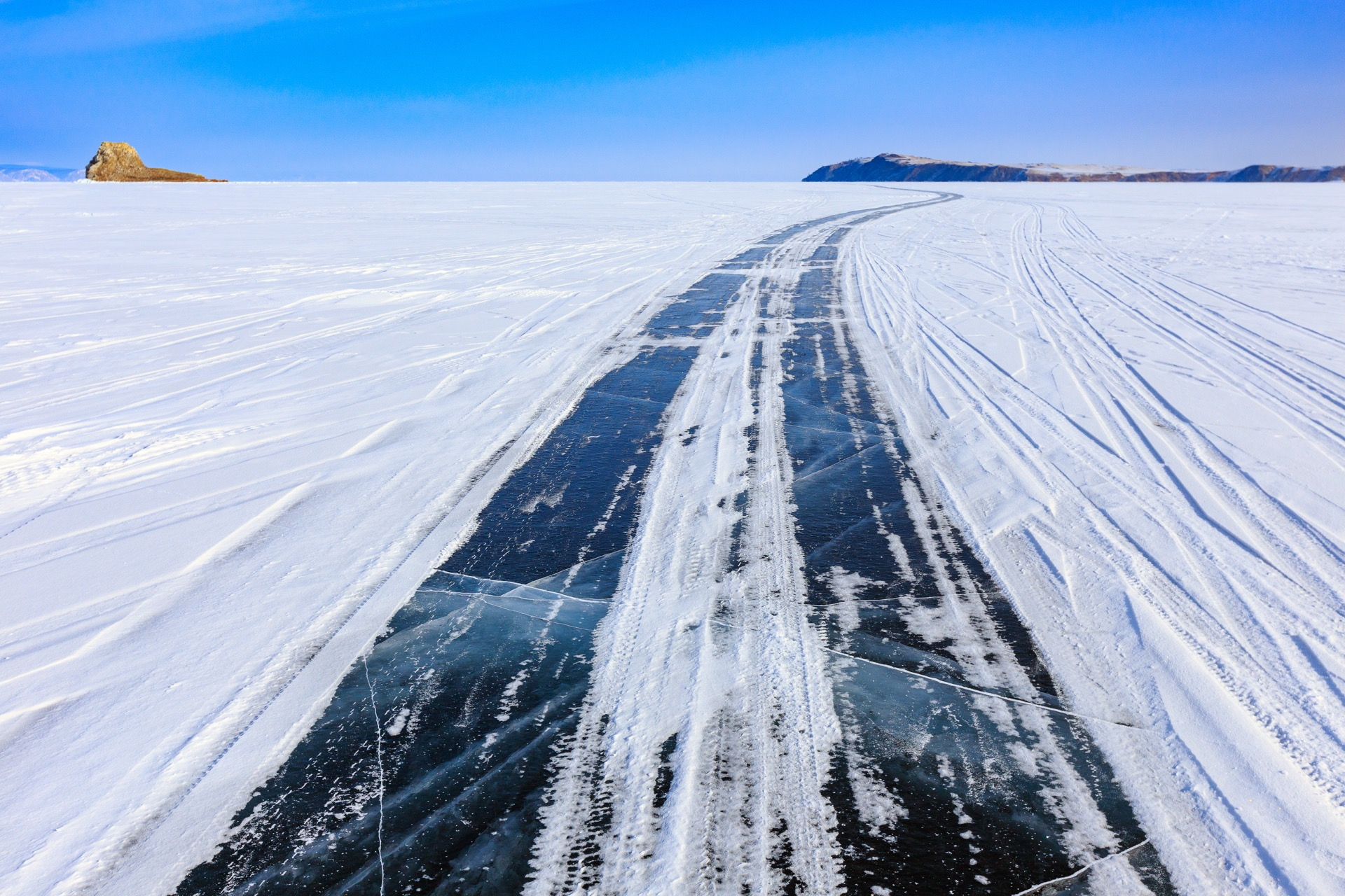 Completed ice road in BC